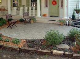 Backyard Concrete Ideas Stamped Concrete Patio Ideas Porch Traditional With Bark Mulch