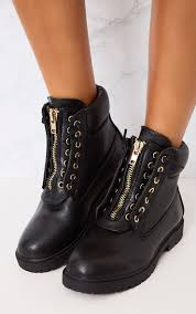 black lace up biker boots women u0027s shoes heels boots u0026 sandals prettylittlething usa
