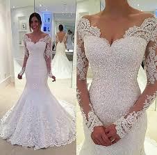 mermaid deep v back long sleeves lace wedding dress