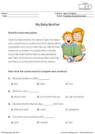 primaryleap co uk reading comprehension my baby brother worksheet