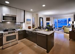 L Shaped Open Floor Plan Kitchen Open Floor Plan Kitchen And Living Room With Wide