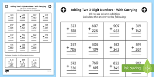 adding 3 numbers adding two 3 digit numbers in a column with carrying answers