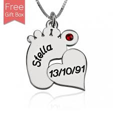 Personalized Jewelry Box For Baby Personalized Baby Feet Necklace With Heart In Silver