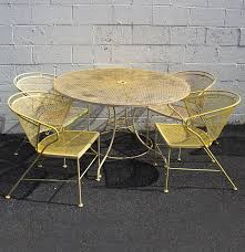 Wrought Iron Patio Furniture Leg Caps by Painted Wrought Iron Mid Century Modern Patio Set Ebth