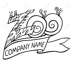 name ribbon zoo logo or label in zebra pattern and snails with ribbon title