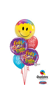get well soon and balloons feel better soon smiley balloon bouquet balloons hobart