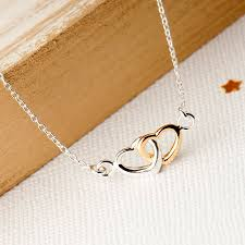 silver necklace hearts images Linked hearts necklace sterling silver and gold by grace valour jpg