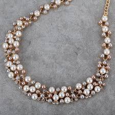 pearl rose gold necklace images Yazilind rose gold cream faux pearl crystal collar chunky bib jpg