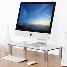 Laptop Desk Stands Fitueyes 8mm Thick Clear Glass Computer Stand Laptop Desktop Stand