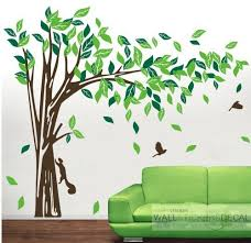 large elegant tree with bird rabbit vinyl wall sticker home decor