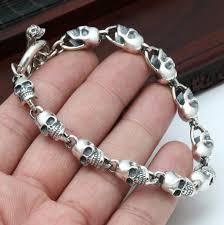 bracelet skull silver images New 925 silver skeleton bracelet thai silver skull bracelet real jpg