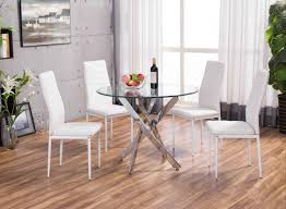 Glass And Chrome Dining Table White Novara Chrome Round Glass Dining Table Set Furniturebox