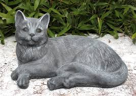 garden ornaments cat cast slate gray co uk