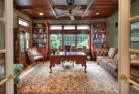 Craftsman Ceiling Fan by Craftsman Home Office With High Ceiling U0026 Wainscoting In Far Hills