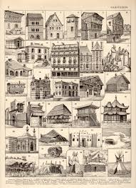 1897 house architecture antique print vintage lithograph