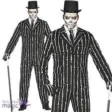 mens skeleton bone print pin striped suit halloween fancy dress