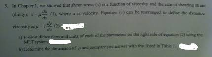 in chapter 1 we showed that shear stress r is a chegg com