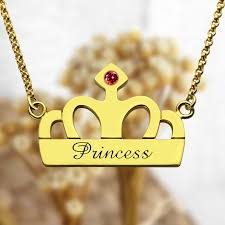 name charm necklace crown charm necklace with birthstone name 18k gold plated