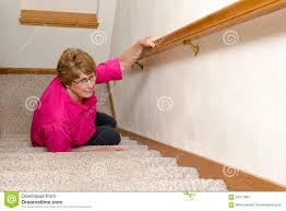 Mobility Stairs by Elderly Woman Slip Fall Home Accident Stock Photo Image 64271604