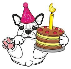 french bulldog with birthday cake stock illustration image 77229894