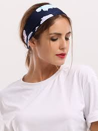wide headband showy floral printed elastic wide headband in cadetblue