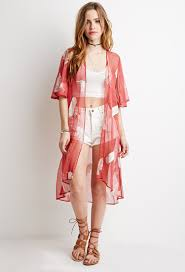 forever 21 feather embroidered chiffon kimono in red lyst