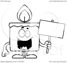 cartoon clipart of a happy candle mascot holding a sign vector