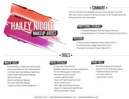 Resume For Artist 10 Makeup Artist Resume Examples Sample Resumes Sample Resumes