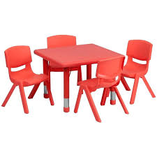 activity table and chairs table and chairs square adjustable red plastic activity table