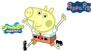 peppa pig vs spongebob geordge pig coloring pages 2016 youtube