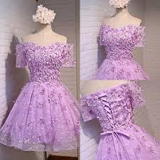 lavender 3d floral applique short cocktail party dresses off
