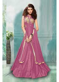 pink colour tapeta silk semi stitched gown suit