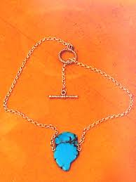 natural turquoise stone silver curb link turquoise stone charm pendant gemstone blue mood