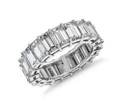 mens eternity rings emerald cut diamond eternity ring in platinum 9 ct tw blue nile