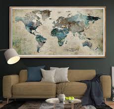 push pin world maps u2013 fravu extra large wall art print home