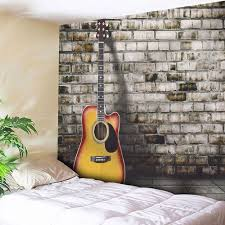 guitar wall hanging home decor microfiber tapestry gray w inch l