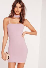 bodycon dresses choker neck bodycon dress mauve missguided