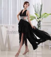 black backless high low prom dress evening gown thecelebritydresses