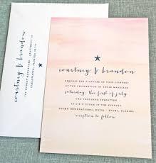 courtney watercolor sunset beach wedding invitation sample