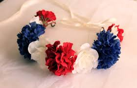 4th of july headbands white and blue flower crowns independence day flower headband