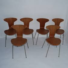 set of 6 3105 mosquito dinner chairs by arne jacobsen for fritz