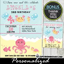 under the sea birthday invitation personalized d2