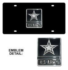 Front Vanity Plates Us Army Chrome Emblem 3d Black License Plate Milarmy 42 75