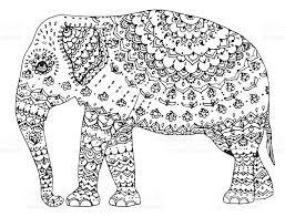 stylized elephant indian animal ornamental line black and