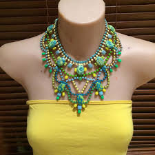 yellow turquoise necklace images Shop neon yellow statement necklace on wanelo jpg