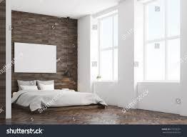 Wooden Wall Bedroom Side View Bedroom Dark Wooden Walls Stock Illustration 619235231