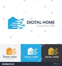 Digital Home Logo Stock Vector  Shutterstock - Digital home designs