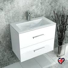 Hygena Bathroom Furniture 2 Drawer Bathroom Cabinet Grey Wall Hung Unit 2 Drawers Ceramic