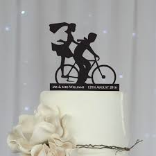 cake toppers bicycle silhouette acrylic wedding cake topper country themed