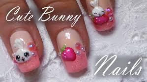 nail art nail art designs cute bunnytrawberry tutorial easy
